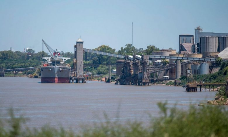 A cargo ship remains anchored on the Paraná River in San Lorenzo, just north of Rosario, in the province of Santa Fe, on December 22, 2020, as workers at agro-export ports hold a strike.