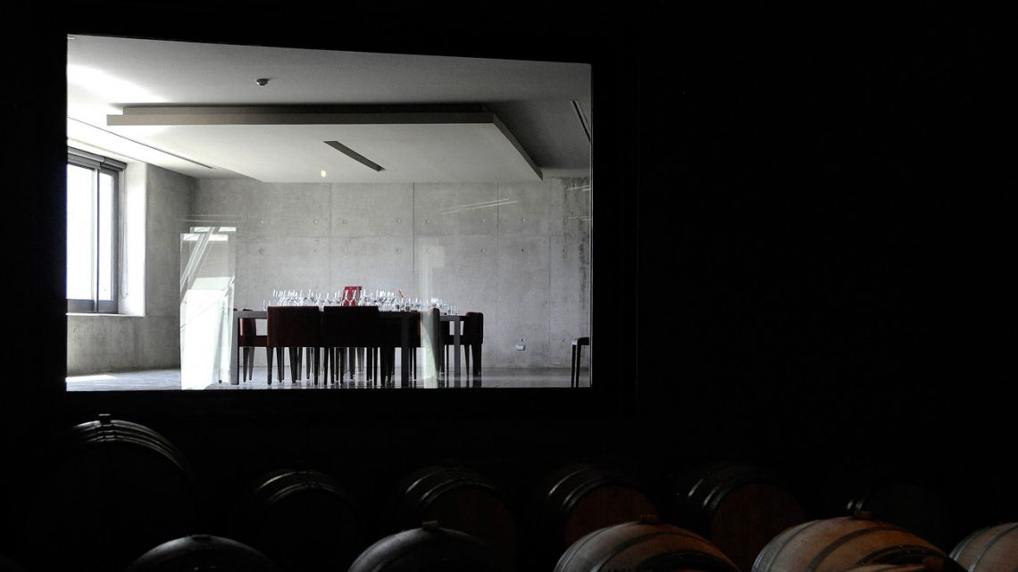 Picture of a wine-tasting room seen from a cellar in DiamAndes, a winery in the Uco Valley, San Carlos Department, in the Argentine province of Mendoza, taken on April 1, 2021. The winery was designed by the Mendoza-based Bórmida & Yanzón studio, which specialises in wine architecture and has built more than 30 wineries since 1988, many of which have received national and international awards.